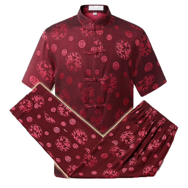WAEOLSA Men Ethnical 2 Pieces Pant Suits Set Mulberry Silk Twinset Mans Oriental Shirt And Trouser Set Chinese Pattern Ensemble