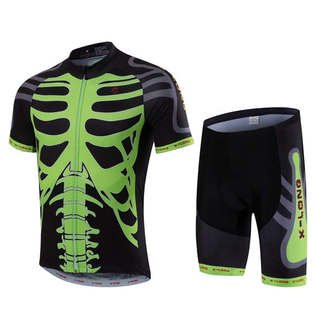 Green Skeleton Sport Bike Team Racing Cycling Jersey Tops shorts set Summer  Bicycle Cycling Clothing Ropa Ciclismo MTB jersey d715fc5b5