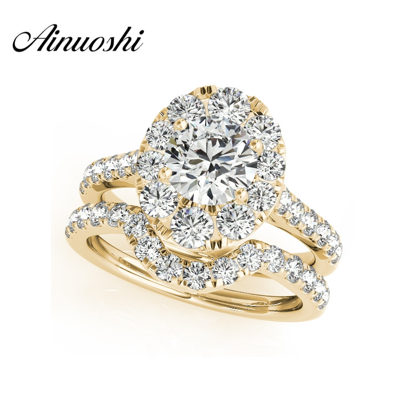 AINUOSHI Fashion 925 Sterling Silver Women Engagement Ring Sets 1 Carat Yellow Gold Color Lady Bridal