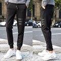 2016 Novos Chegada da Alta Moda Homens Faixa Calças Magros Casuais Calças Sólidos Top Venda Hip Hop Sweatpant Calças Agasalho Preto