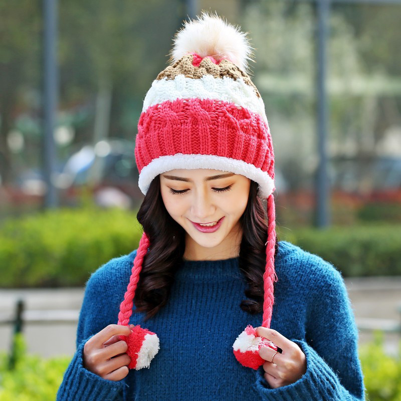 Lovely Hat For Women Grils Lining Thicken Skullies Pom Pom Women's Beanies Warm Knitted Cap Female Winter Hat Earmuffs Cap Gorro toyouth skullies beanies 2017 autumn women letters jacquard warm thicken knitted hat female
