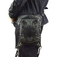 Rock Men's Leg Bags Steampunk Gothic Spider Fanny Pack Retro Black Leather Waist Bag Crossbody Messenger Phone Case Holder