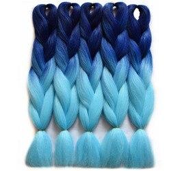 Chorliss 24 straight jumbo ombre braiding hair bluetl blue synthetic hair extensions crochet braids 100g pack.jpg 250x250