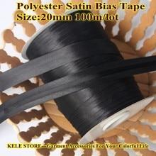 Ücretsiz kargo Polyester saten verev bant bant, boyutu: 20mm, tekstil kumaş, çin takım elbise, $12 100m DIY dikiş konfeksiyon ürün siyah