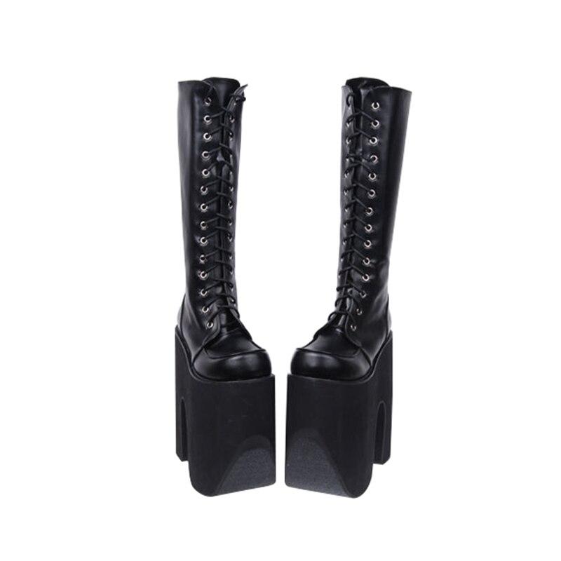 Fille Talon Chaussures Angéliques forme Moto Lady Noir Bagatelle Bottes Mentions Lolita Pompes Punk Haute Cm Femmes Super Légales Femme Mori Plate 20 KcTFl1J