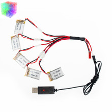 5pcs 3.7V 250mAh LiPo Battery and 5 in1 USB charger For Hubsan H107 H107L H107D JD385 JJ1000A H108C U816 Syma X11C Helicopter rc