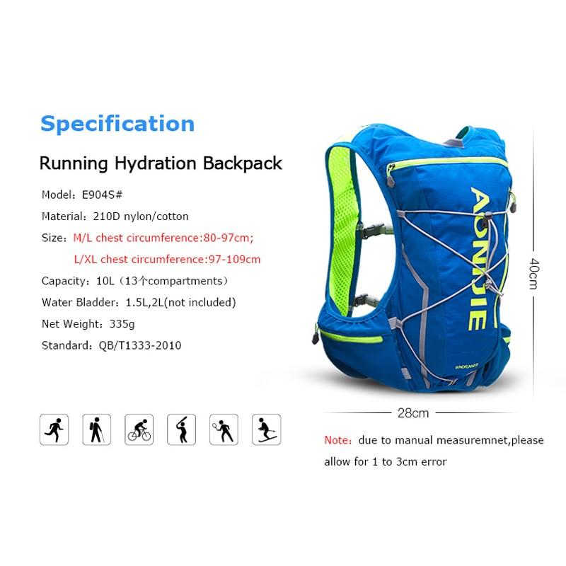 AONIJIE E904S 10L Hydration Pack Backpack Rucksack Bag Vest Harness Water Bladder Hiking Camping Running Marathon Race Sports