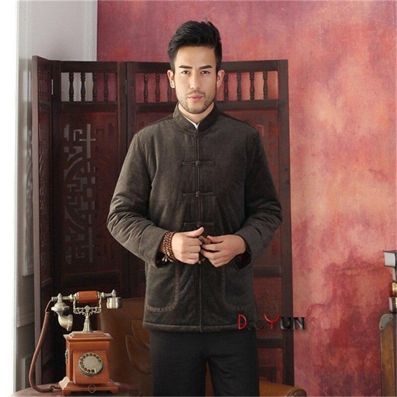 Haut de gamme hommes à manches longues style chinois veste Kung Fu manteau velours broderie Tang costume taille S M L XL XXL XXXL livraison gratuite