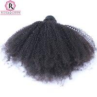 몽골어 아프리카 곱슬 곱슬 머리 직조 4B 4C 100% 천연 인간의 머리 번들 1 개 레미 확장 로사 여왕 헤어 제품