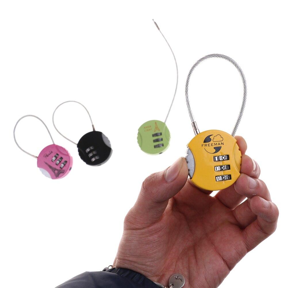 3.7cm x 9cm Mini Resettable 3 Digit Combination Travel Luggage Suitcase Code Lock Padlock Locks Random Color new mini 3 digit resettable combination luggage suitcase lock padlock gray 05b