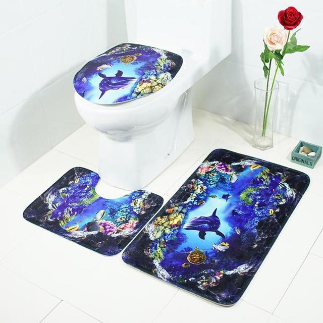 3 Pcs Banyo Paspasları Okyanus Sualtı Dünyası Anti Kayma Banyo mat seti Mercan Polar Kat Banyo Paspasları Yıkanabilir Banyo Tuvalet Kilim