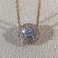 LASAMERO 0.2ctw Corte Redondo 18 k de Oro Rosa Diamante Colgante Doble Halo Pavimenta Acentos de Diamante Natural Colgante de Collar de Cadena