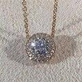 LASAMERO 0.2ctw Rodada Cut Diamond 18 k Ouro Rosa Pingente Duplo Halo Pave Acentos Natural Pingente de Diamante Colar de Corrente
