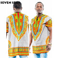 African Clothing Dashiki Blouse Printing Traditional Short Shirts for Men