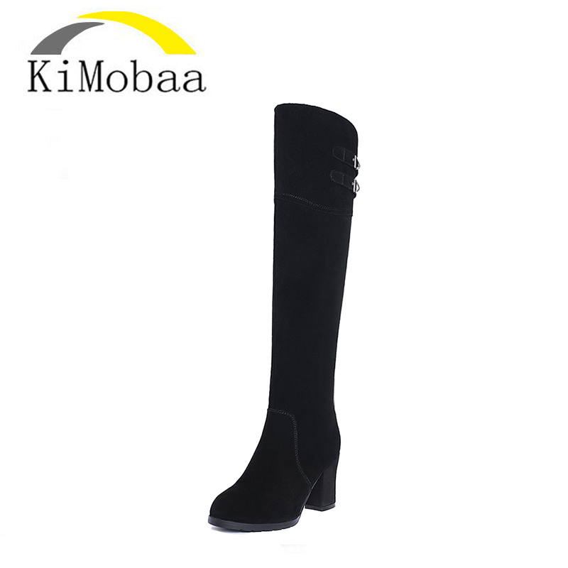 Kimobaa Over-the-knee Genuine Leather+Flock Boots Women Winter Shoes Woman Black Suede Zip 33-40 High quality TX149 цены онлайн