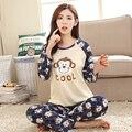 LIKEPINK 2017 Primavera Pijamas Das Mulheres de Algodão Cabeça de Macaco Dos Desenhos Animados Padrão Pijamas Conjuntos Pijamas Mujer Femme Sleepwear Homewear S ~ 2XL