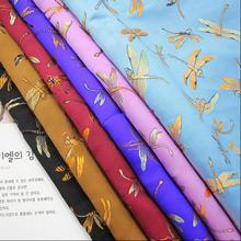 Dragonfly brocade fabric high-grade imitation silk quality Chinese wind cheongsam plaid fabric dark pa,50*74CM,freeshipping,B783 майка print bar geometric dark dragonfly