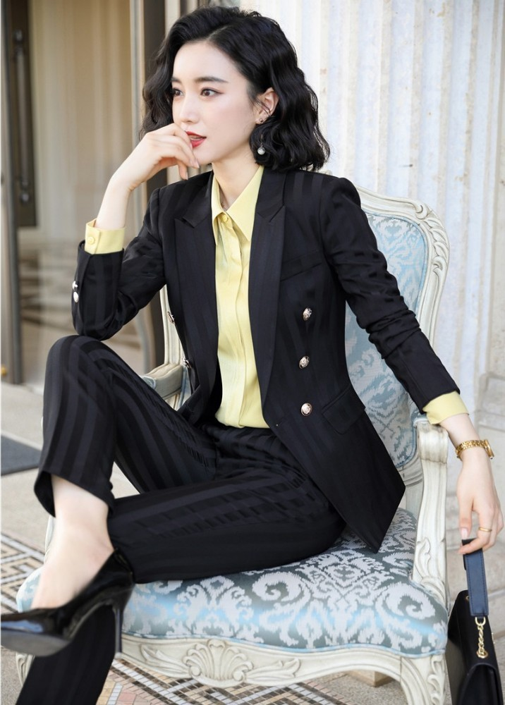 High Quality Fabric Novelty Wine Striped Women Business Suits with Pants and Blazer Coat Autumn Winter Professional Pantsuits 4