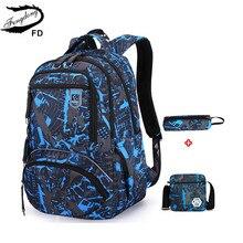 Fengdong 3 pçs conjunto saco do estudante sacos de escola para meninos bagpack crianças grande mochila à prova dwaterproof água menino bolsa de ombro caneta lápis caso