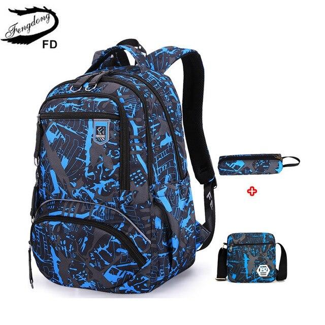 Fengdong grand sac à dos étanche pour enfants, ensemble de 3 pièces de sacs de lycée pour garçons, sac à bandoulière pour étudiants, stylo porte crayon
