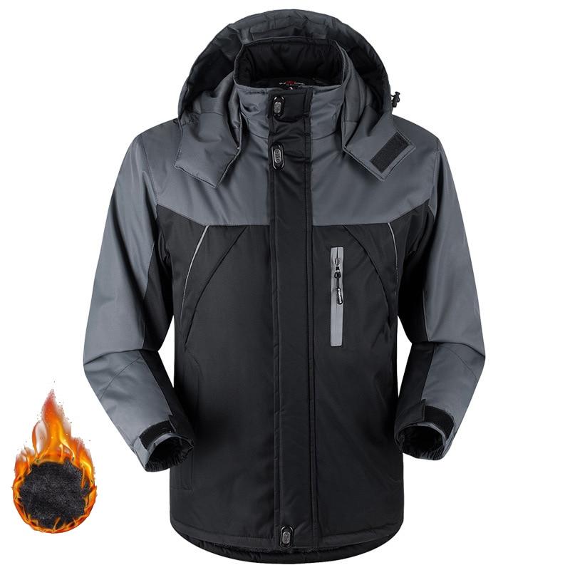 Thicken Winter Fleece Jacket And Coats Outwear Waterproof Windproof Warm Climb Mountain Jacket Men's Windbreaker Down Parkas