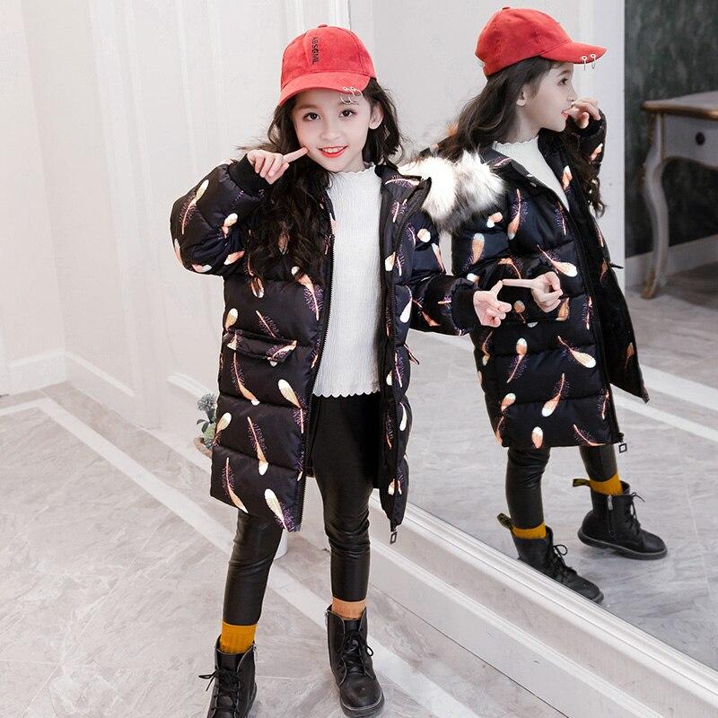 Offre spéciale filles coton rembourré vêtements de dessus enfants manteau ouaté pour hiver froid enfants longue veste à capuche pour la russie X467