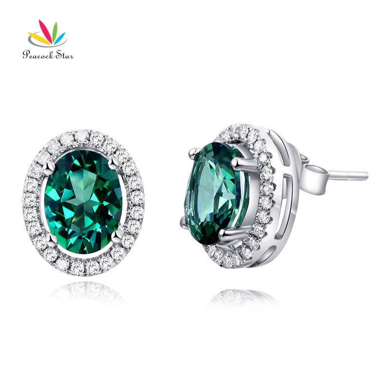 Peacock Star 14K White Gold Stud Natural 1.6 Ct Oval Green Topaz Earrings 0.28 Ct Diamonds