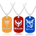 Pokemon Go Dog Tag Team Valor Mystic Instinct Logo Game Anime Pendent Metal Necklace Gift For Fans Fashion Jewelry Free Shipping