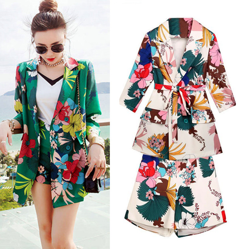 Summer Spring Women's Summer Casual Pants Sets Vintage Blazers Graceful Blouses+Shorts Pants Plus Size Suits Set NS268