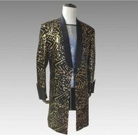 2018 S 4XL Men Leopard Pattern Gold Sequins Trendy Long Jacket Bar Nightclub Men Singer Dance Evening Party Performance Blazer