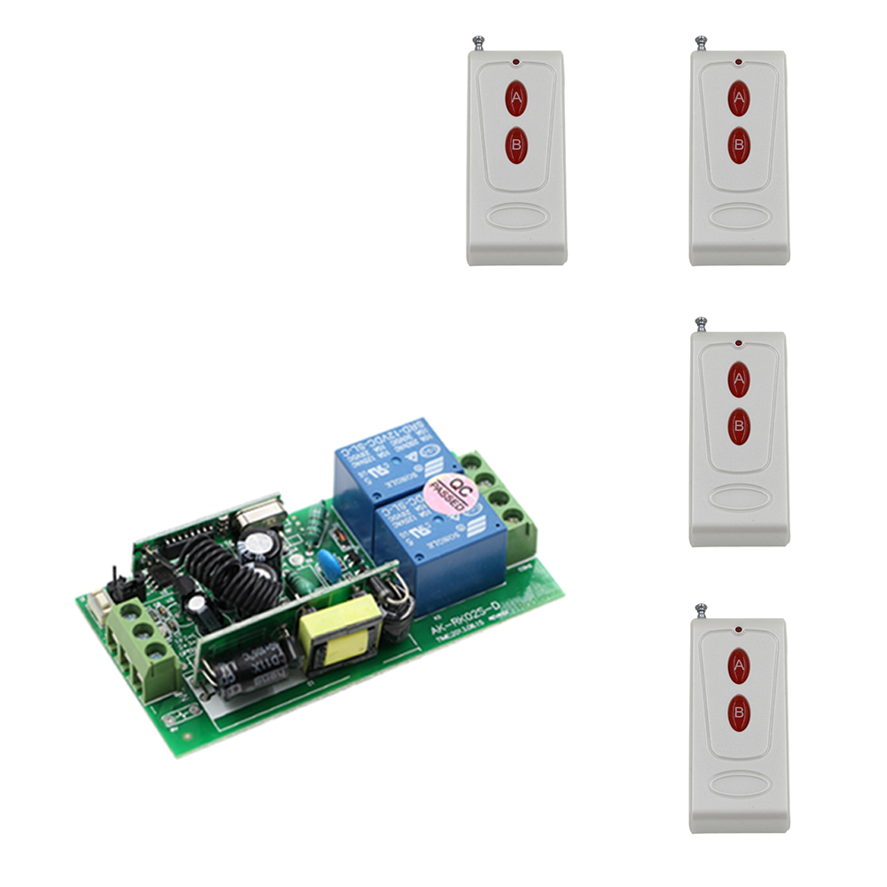 New AC 85V-250V 2CH RF Wireless Remote Control Switch System Transmitter and Receiver 10A Wireless Switch ON OFF 315/433mhz ac 220v 30a relay 1 ch 1ch rf wireless remote control switch system 315 433 92 2x transmitters receiver latched a on b off