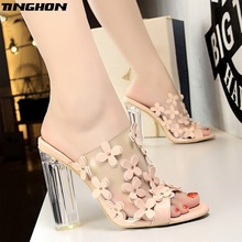 TINGHON Fashion Slippers High Heels Sandals Transparent Fish Mouth Shoes Woman Crystal Chunky Sweet Summer