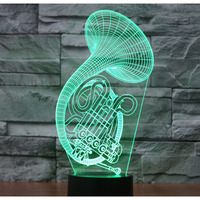3D LED Night Light Sax Music Instruments Saxophone With 7 Colors Light For Home Decoration Lamp