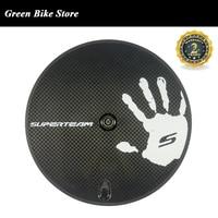 SUPERTEAM Factory sale 700c carbon fiber disc wheel track road bike 12k weave disc wheels clincher/ tubular carbon wheels