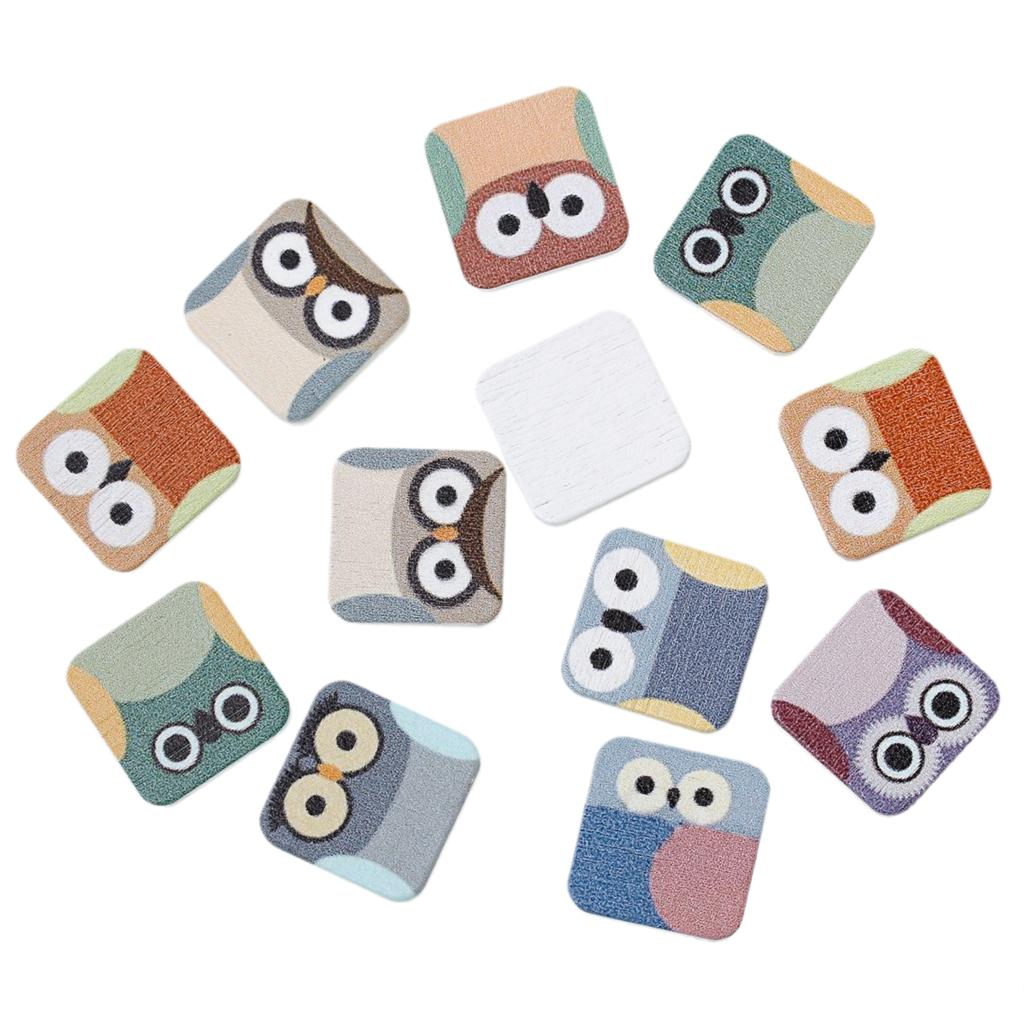 DoreenBeads Wood Cabochons Scrapbooking Embellishments Findings Square At Random Owl Pattern 20mm(6/8