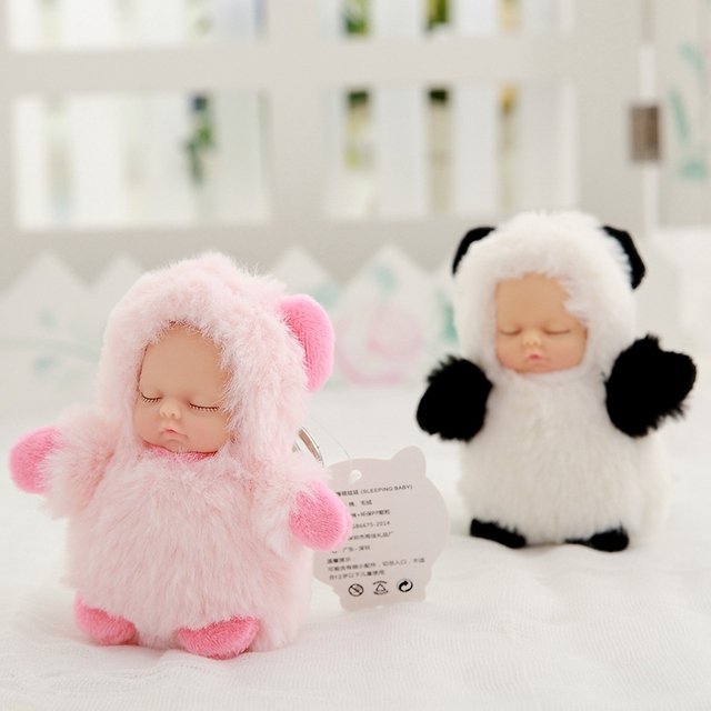 Mini 12cm kawaii sleep baby dolls plush toys Bjd bebe bear rabbit doll Key chain Pendant for kids girl Christmas birthday gift  1