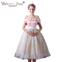 VARBOO_ELSA Cute Sweet Pink Party Dress Satin Organza Prom Dress Floral Print Homecoming Dresses Sexy Off Shoulder Evening Dress