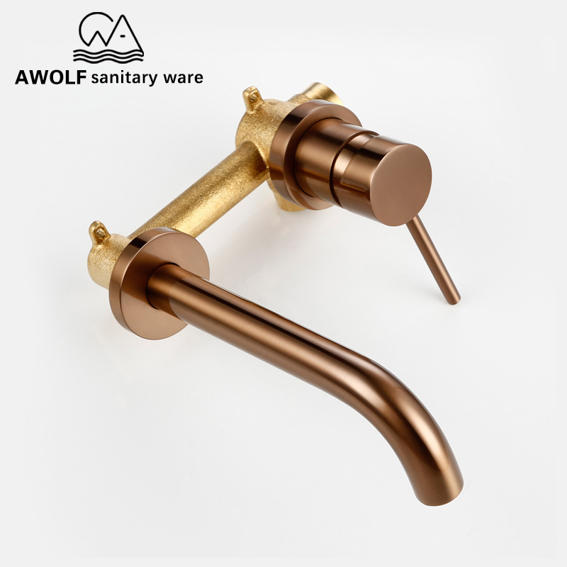 Wall Mounted Spout Basin Faucet Solid Brass Brushed Rose Gold Bathroom Bathtub Shower Mixer Tap For Lavatary Sink ML8033