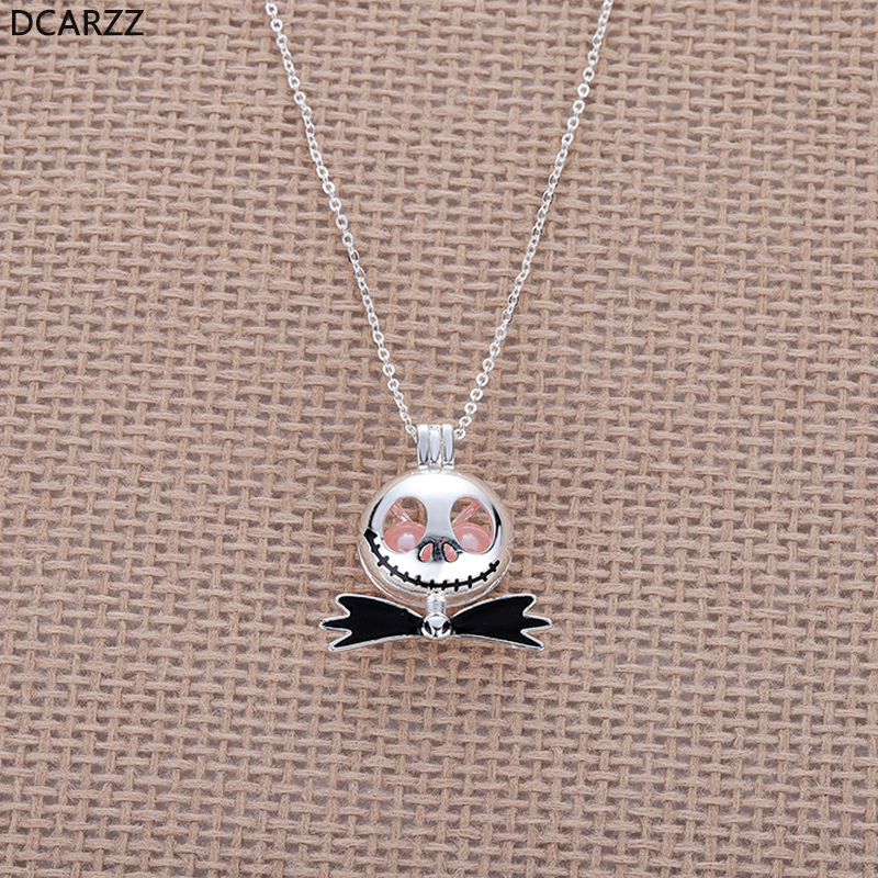 The Nightmare Before Christmas Jack Necklace Pink Pearl Beads Pearl Cage  Pendant Kids Christmas Gift Necklace 3d44ba630815