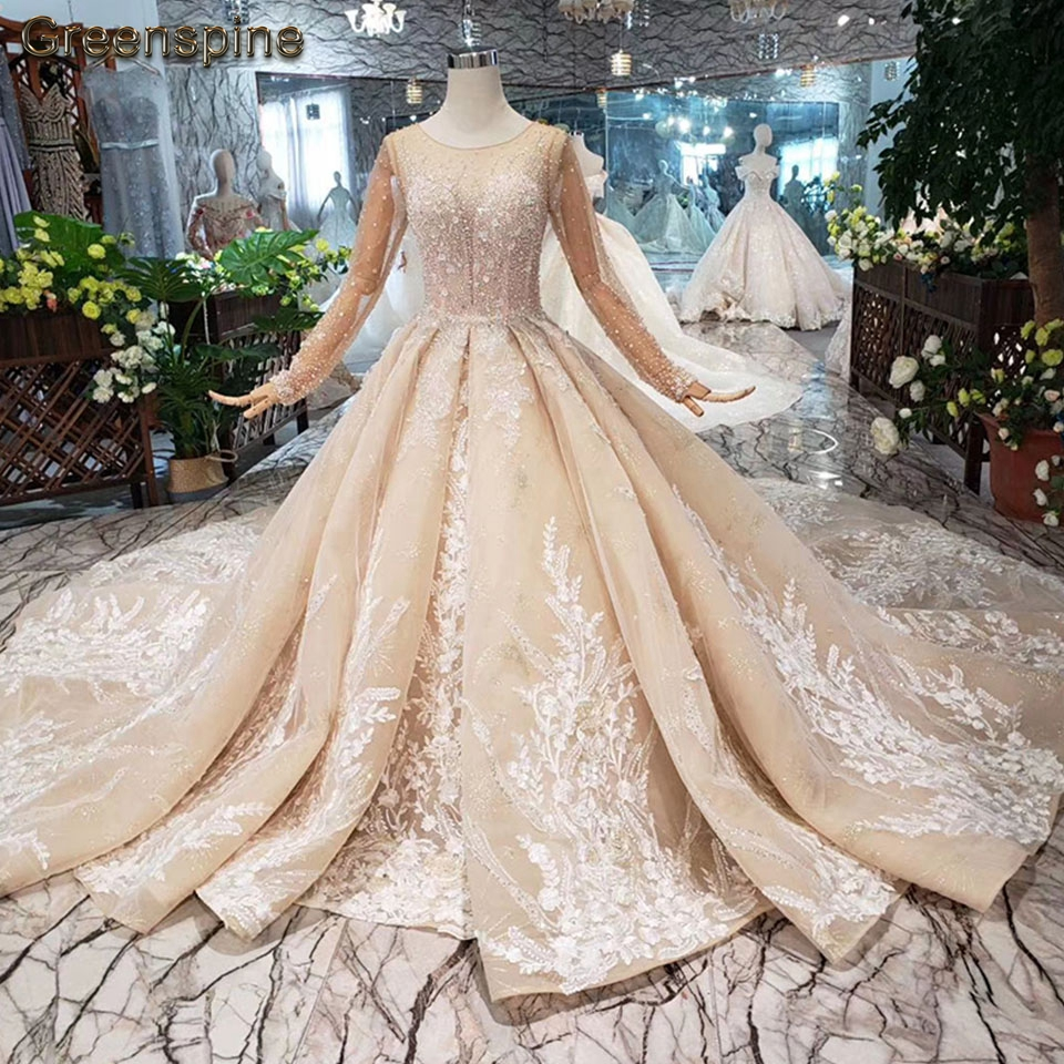Greenspine Sexy Muslim Wedding Dress Long Sleeve 2019 Vestido De Novia Pearls Wedding Gown Luxury Champagne Lace Bridal Dresses
