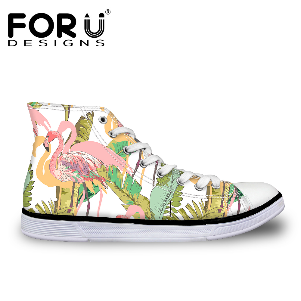 FORUDESIGNS 3D Flamencos Tropicales Impresos High Top Canvas Shoes - Zapatos de mujer