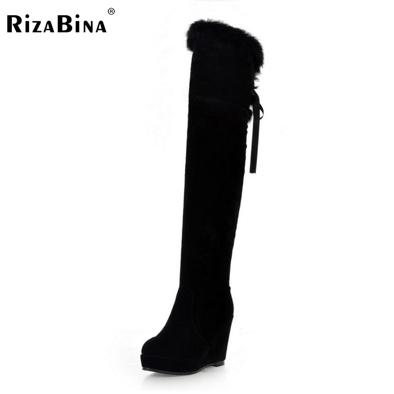 ФОТО RizaBina Free shipping over knee natrual genuine leather wedge boots women snow winter warm boot shoes R1218 EUR size 32-43