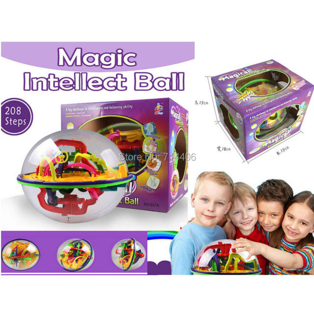 208 Steps educational toys Magic Intellect Ball Marble Puzzle Game perplexus magnetic balls,Children  intelligence toys