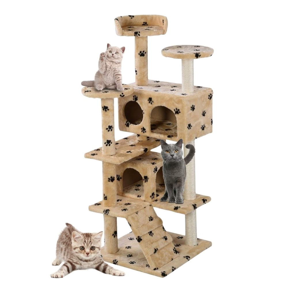New Cat Tree Tower Condo Furniture Cat Scratch Pad Board Protecting  Scratching Post Pet Kitten House Play Castle Climbing Tree