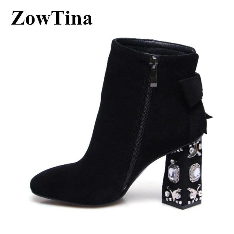 b98c3256a75bc Dames Carré Daim Suede In Cristal In Chelsea grey Courtes Leather Noir En  In black Chaussures Haute Bottes Femmes ...