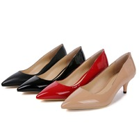 Womens Med Heel 5CM Black Nude Pumps Shoes Ladies Pointed Toe Basic Office Working Shoes Classic