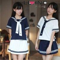 LEHNO Navy Sailor Suit School Uniform Student Pack Graduation Class Service College Wind Short Skirt Set