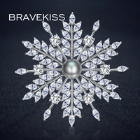 BRAVEKISS Snowflake Brooches Pearl Flower Angular Fashion Brooches Christmas Gift For Women Ladies Wedding Jewelry BUX0007