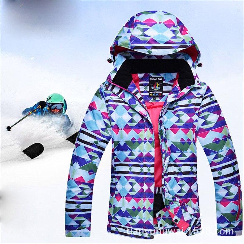 Prix pour 2017 ski veste femmes hiver neige imperméable coupe-vent snowboard bas manteau graffiti impression femelle vestes fille vêtements
