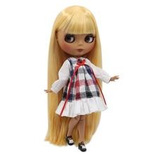 Factory Neo Blythe Doll Dark Skin Orange Straight Hair Jointed Body 30cm